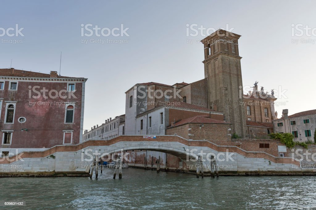 Venice cityscape with Jesuit Church at sunset, Italy. stock photo