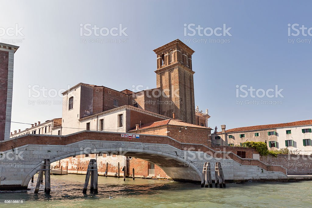 Venice cityscape with Jesuit Church, Italy. stock photo