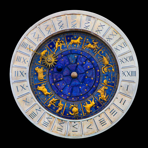 Venice clock Venice astrology clock (isolated on black) astronomical clock stock pictures, royalty-free photos & images