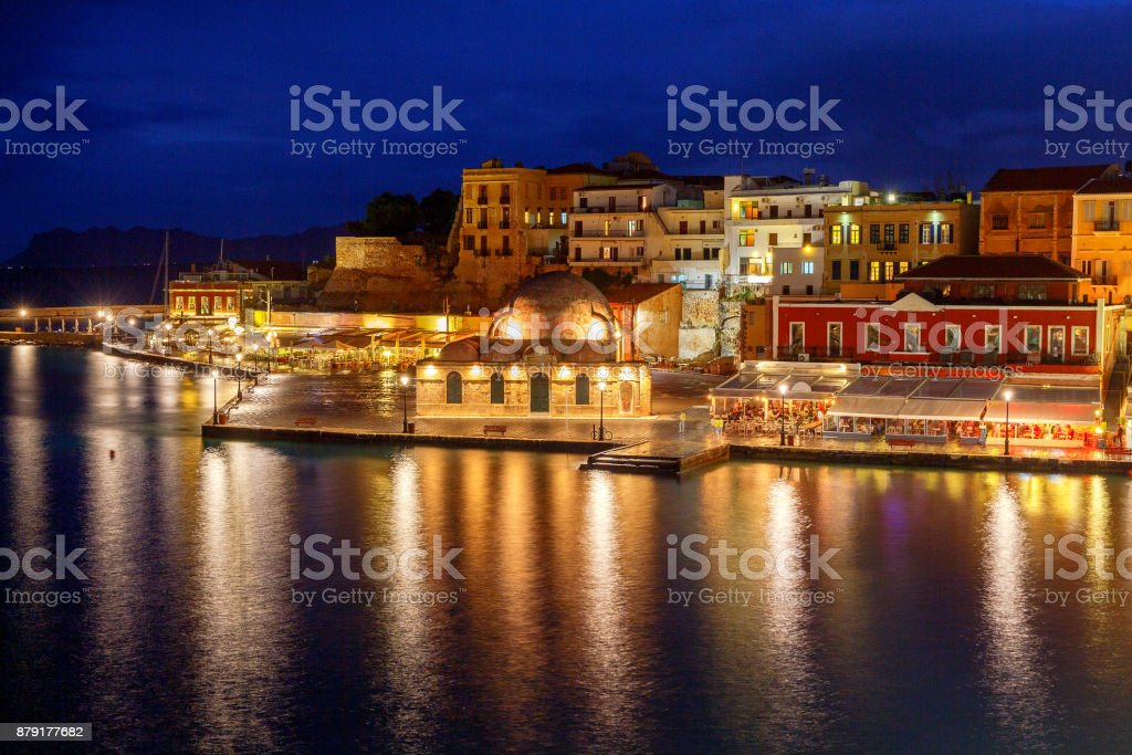 Venice embankment in the old harbor of Chania. stock photo