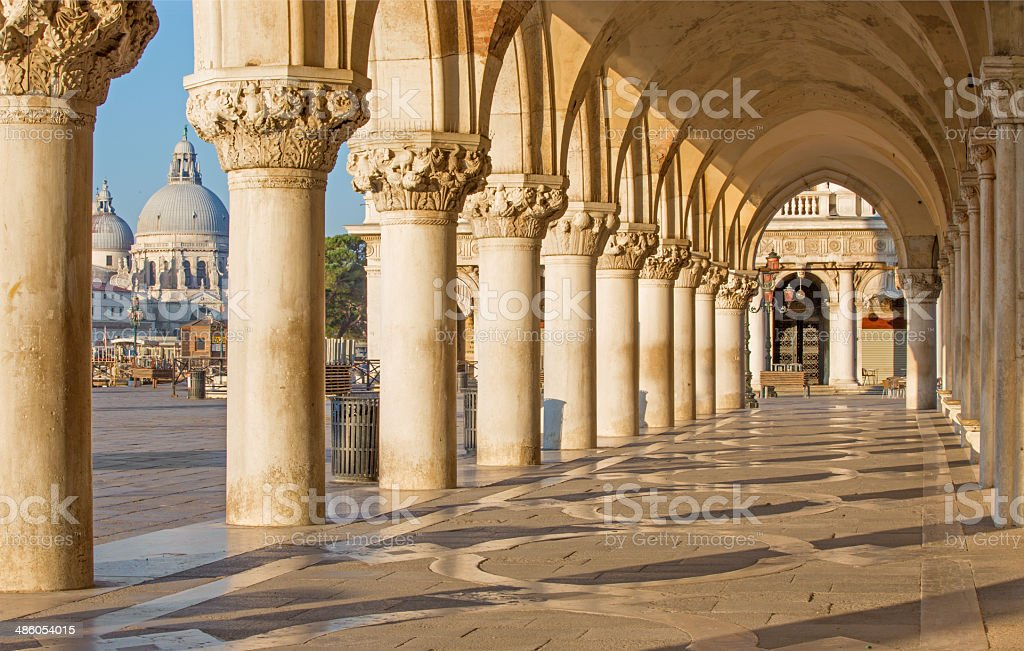 Venice - Exterior corridor of Doge palace stock photo