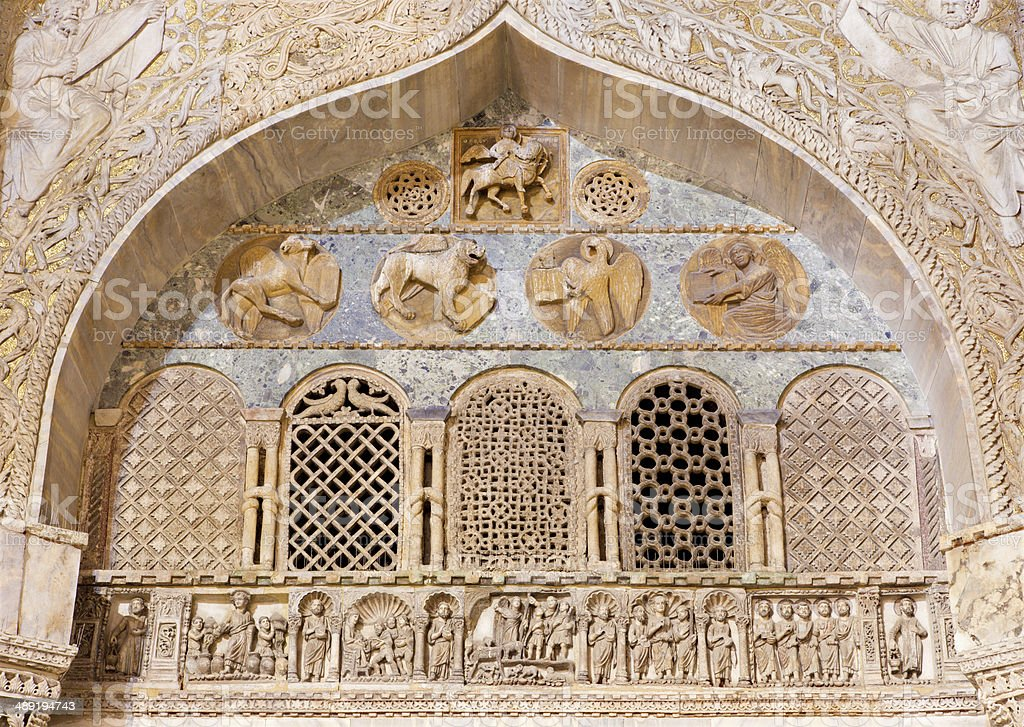 Venice - Exterior reliefs from portal of st. Mark cathedral stock photo