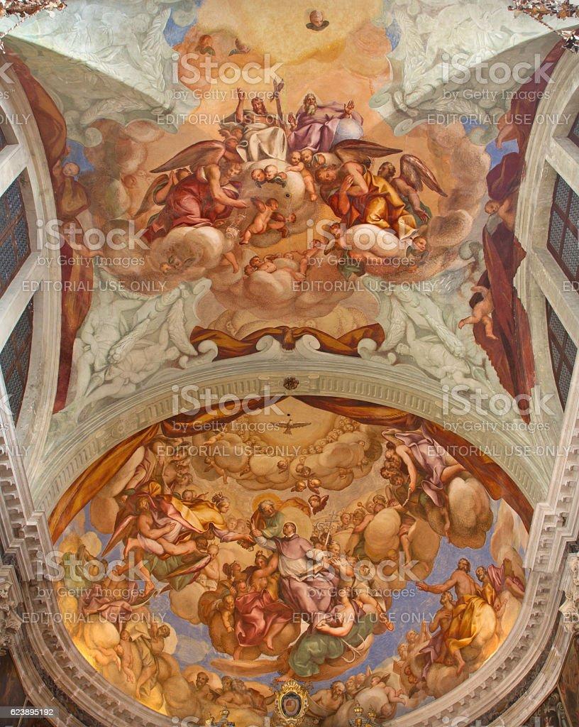 Venice - frescoes Holy Trinity with San Lorenzo Giustiniani stock photo