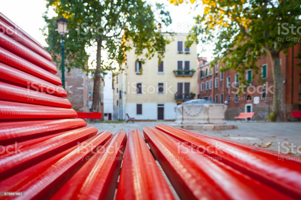 Venice from a red bench royalty-free stock photo