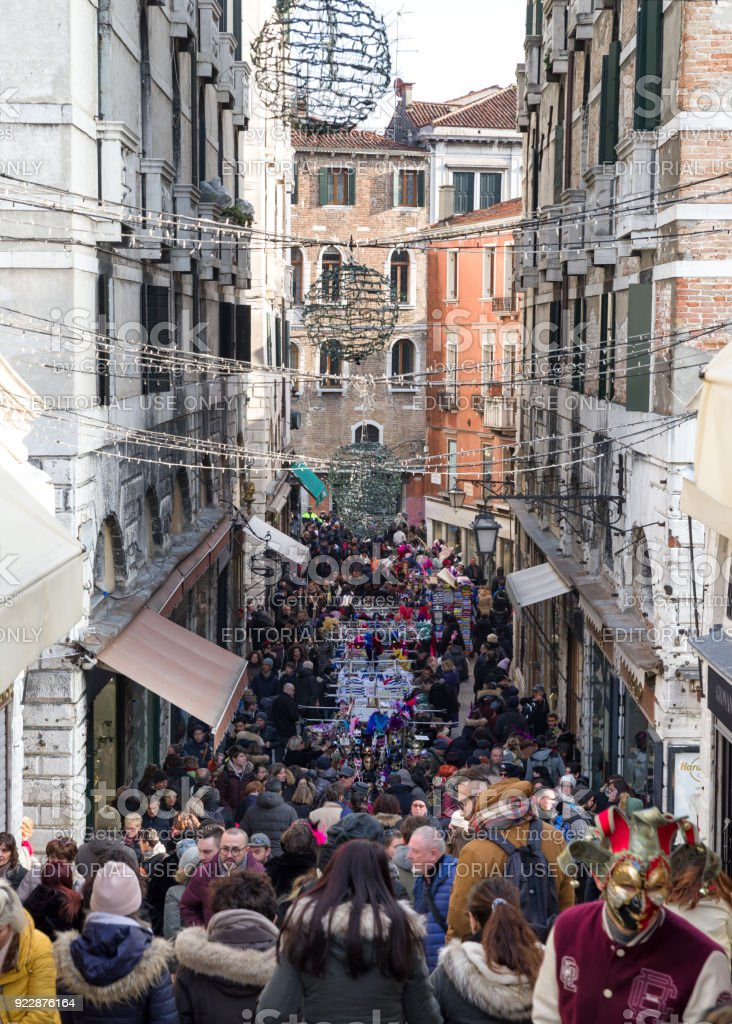 Venice full of tourists during carnival 2018 stock photo