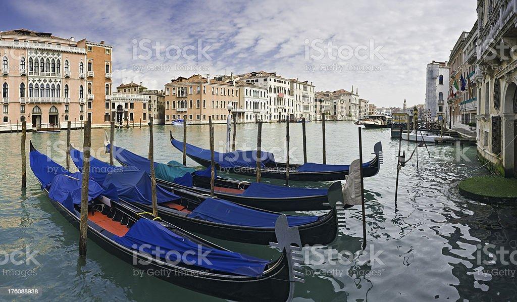 Venice gondolas Grand Canal panorama Rialto Italy royalty-free stock photo