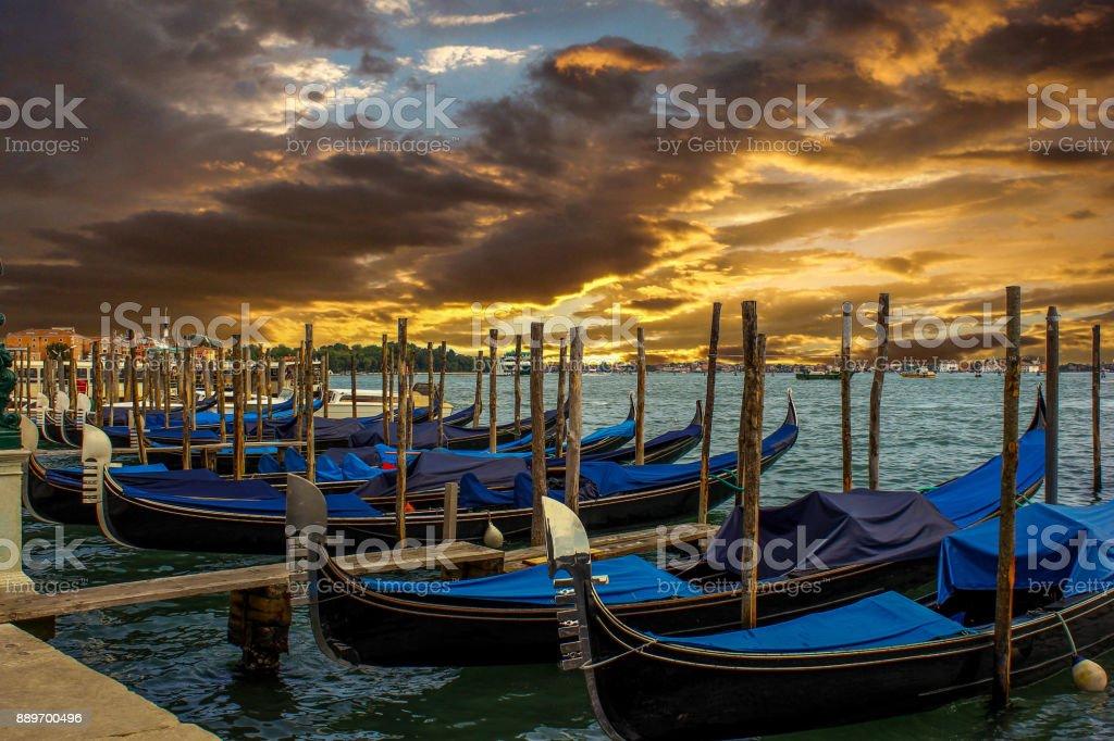 Venice Gondolas on sunset stock photo