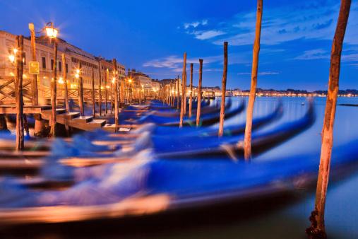 Venice Gondolas Row Sunrise