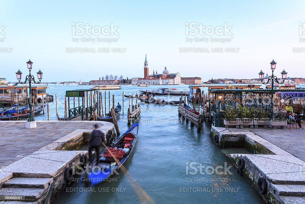 Venice - Gondolas with tourists on the Canal Grande royalty-free stock photo