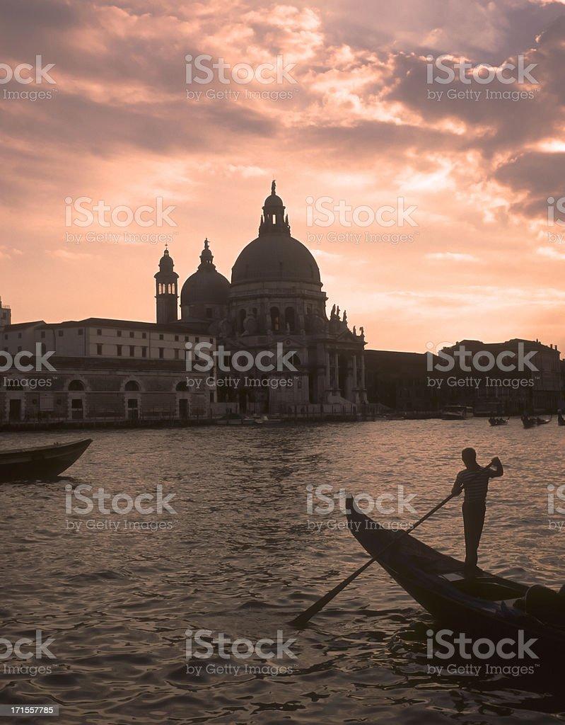Venice gondolier silhouette. royalty-free stock photo