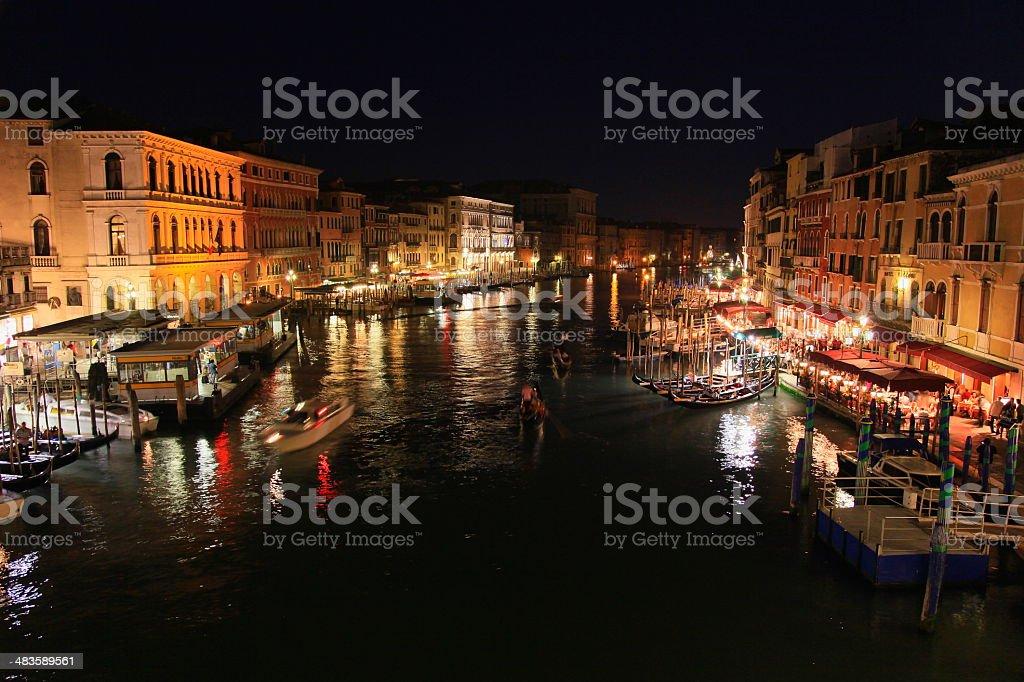 Venice Grand Canal at night, Italy royalty-free stock photo