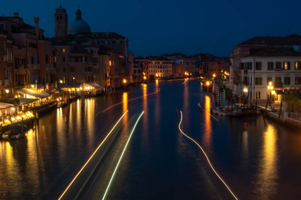 Venice Grand Canal at night stock photo
