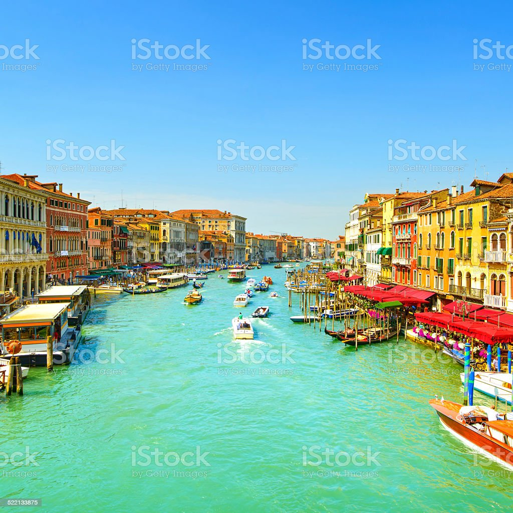 Venice grand canal,  Canal Grande, view from Rialto bridge. Ita stock photo