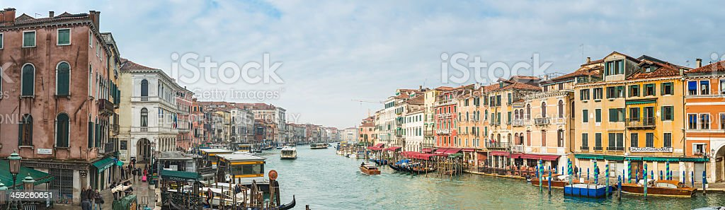 Venice Grand Canal crowded waterway iconic villas panorama Italy royalty-free stock photo
