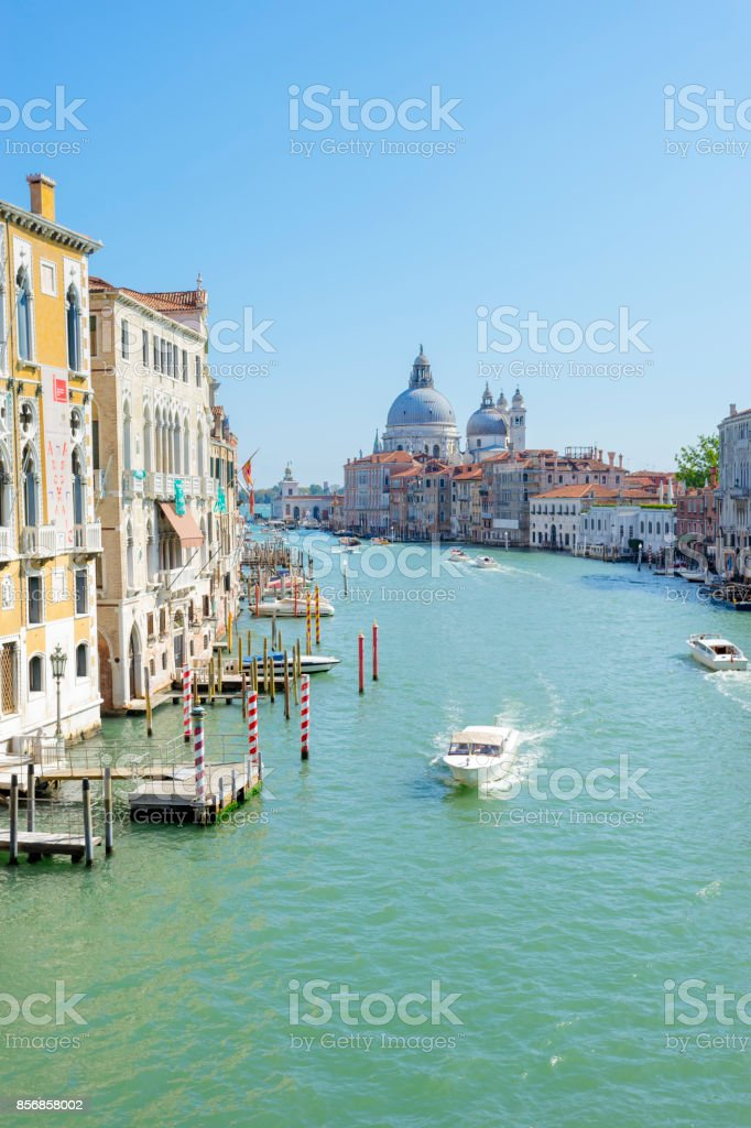 Venice Grand Canal from the Academia Bridge in Italy stock photo