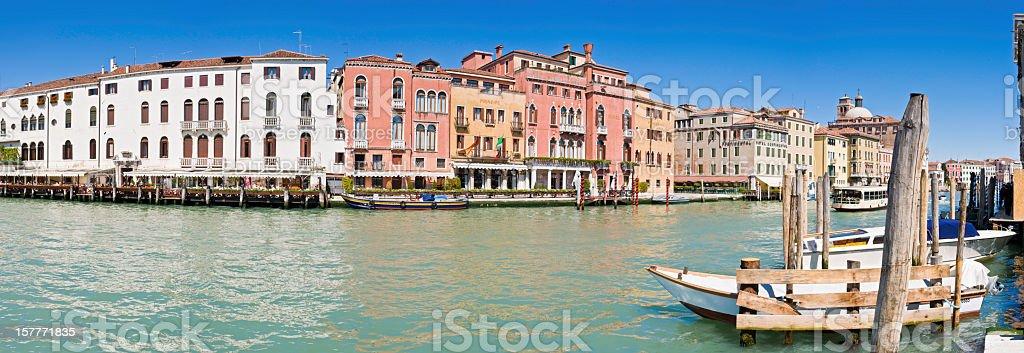 Venice Grand Canal hotels restaurants iconic palazzo panorama Italy royalty-free stock photo