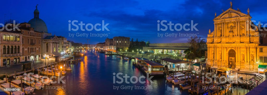 Venice Grand Canal panorama illuminated at dusk Ferrovia station Italy royalty-free stock photo