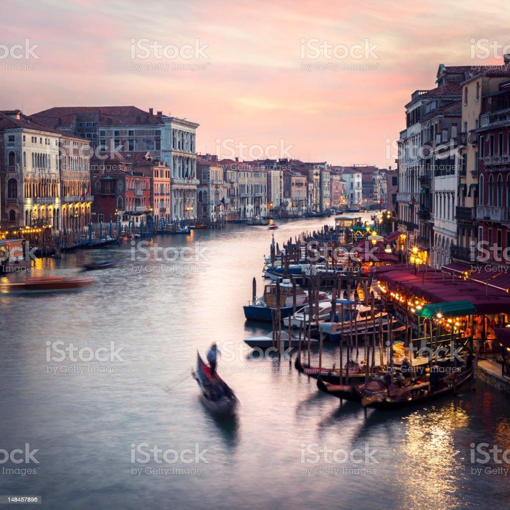 Venice Grand Canal scene at dusk, Veneto Italy royalty-free stock photo