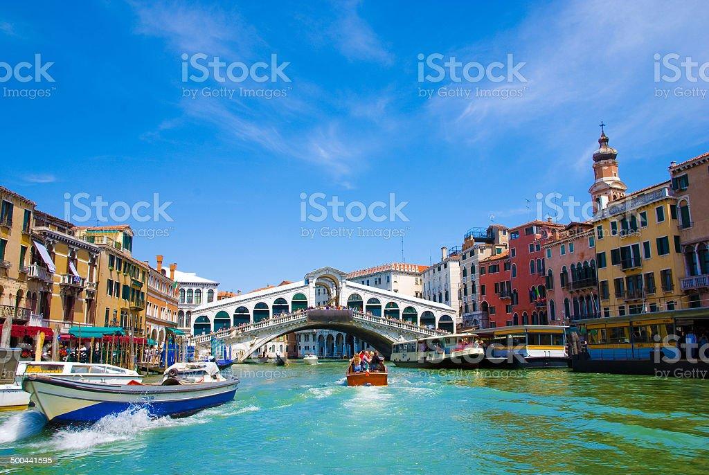 Venice Grand canal with gondolas and Rialto Bridge, Italy stock photo