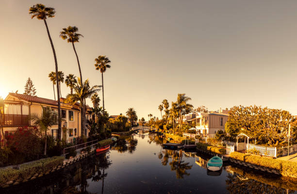 Venice in Los Angeles, canals at sunset stock photo