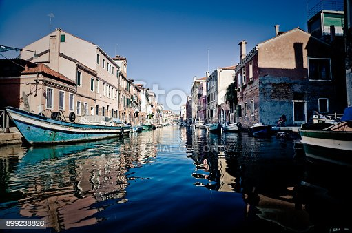 venice, Italy - july, 914 2017: View of Venice from  water. Image taken from the top of a boat