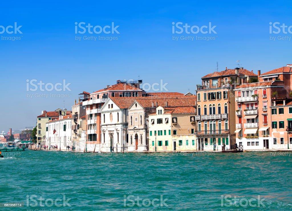 Venice. Italy. Bright ancient buildings ashore Canal Grande foto stock royalty-free