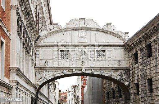 Venice / Italy - February 02 2018. Bridge of Sighs designed by Antonio Contino. Venice, view of the the Grand canal. Venetian architecture.