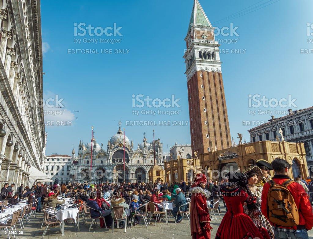 Venice, Italy - February 19 2017: Large crowd at Venice Carnival. stock photo