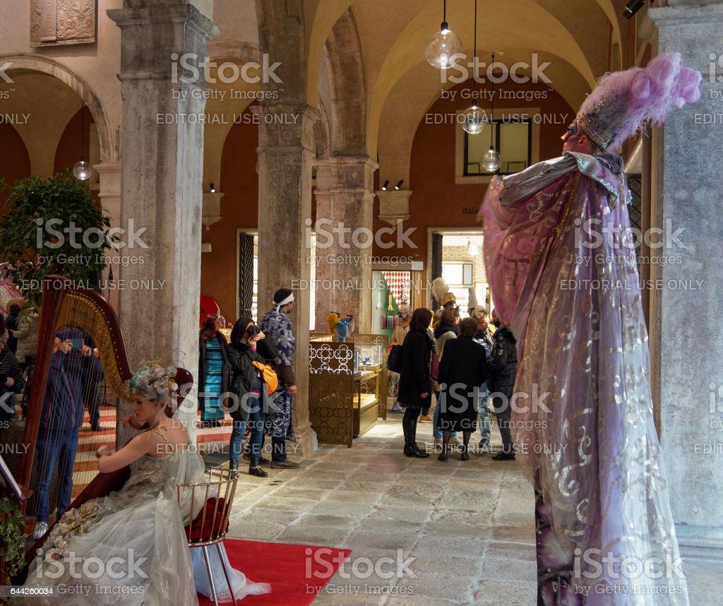 Venice, Italy - February 19 2017: Live music inside T Fondaco dei Tedeschi store