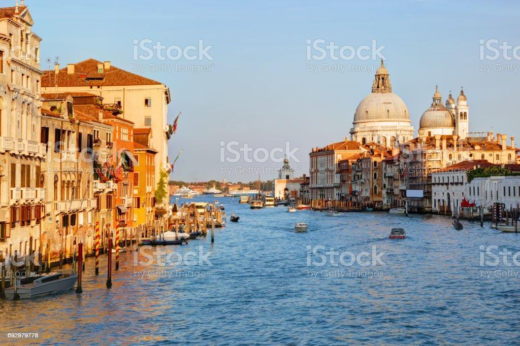 Venice, Italy. Grand Canal and Basilica Santa Maria della Salute stock photo
