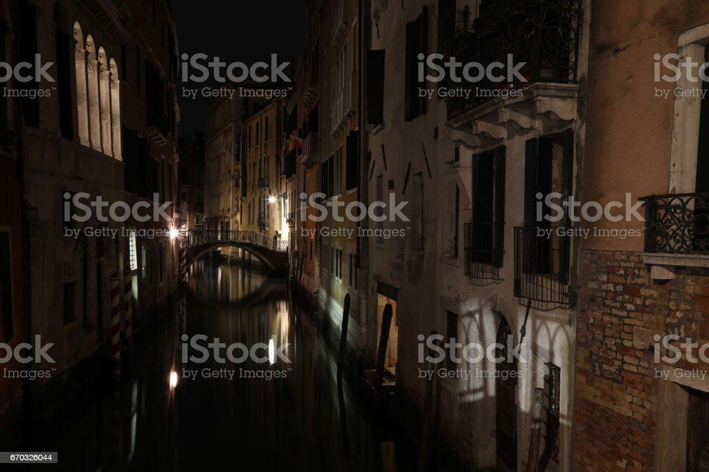 Venice Italy grand canal gandola night view stock photo