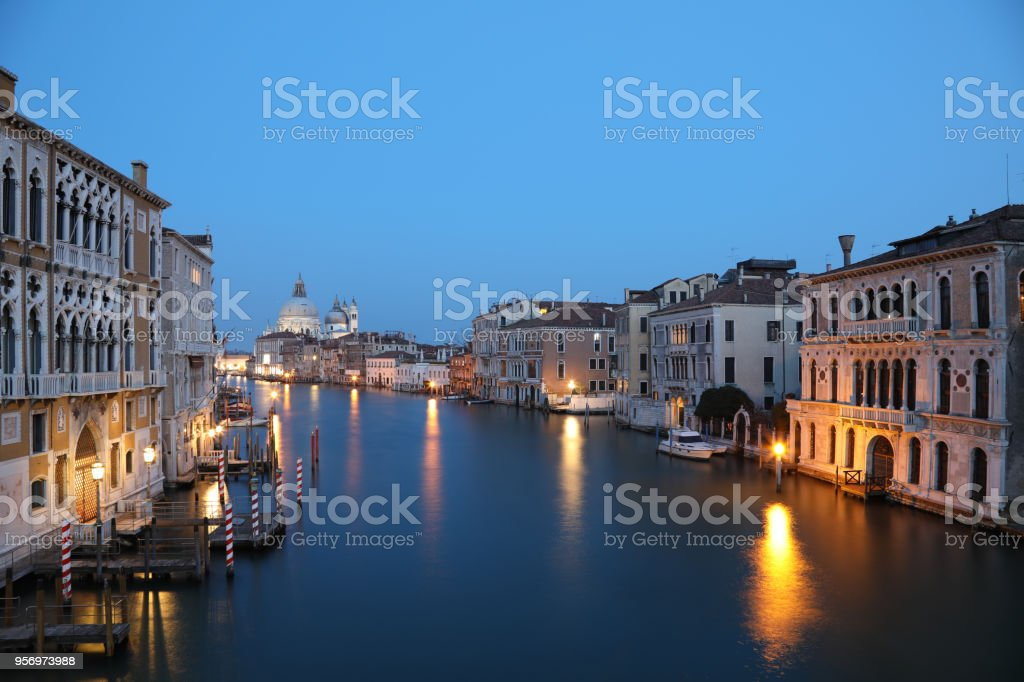 Venice Italy Grand canal night view stock photo