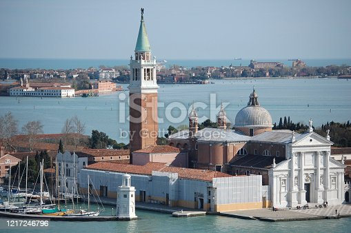 Aerial view of venetian island of San George from the clock tower in San Mark square in a sunny spring day
