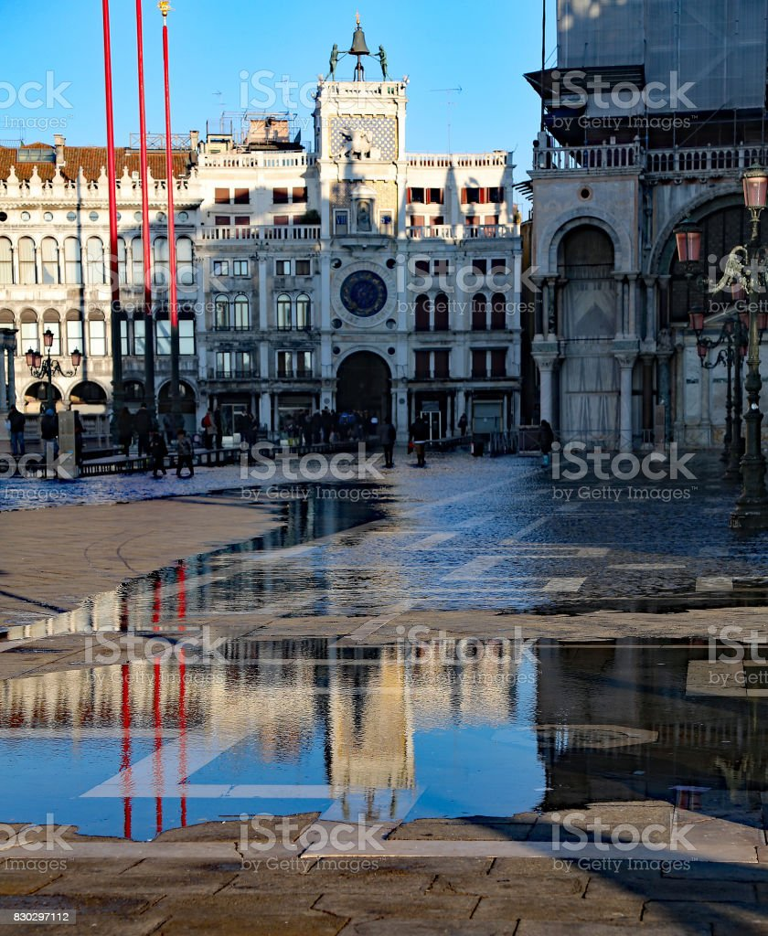 Venice Italy Piazza San Marco at high tide that is shrinking and stock photo