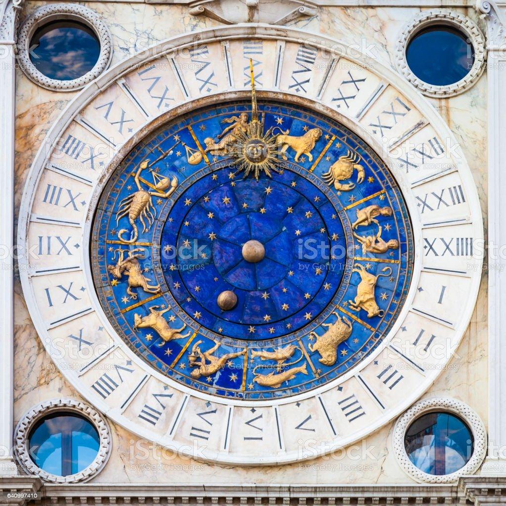 Venice, Italy - St Mark's Clocktower detail stock photo