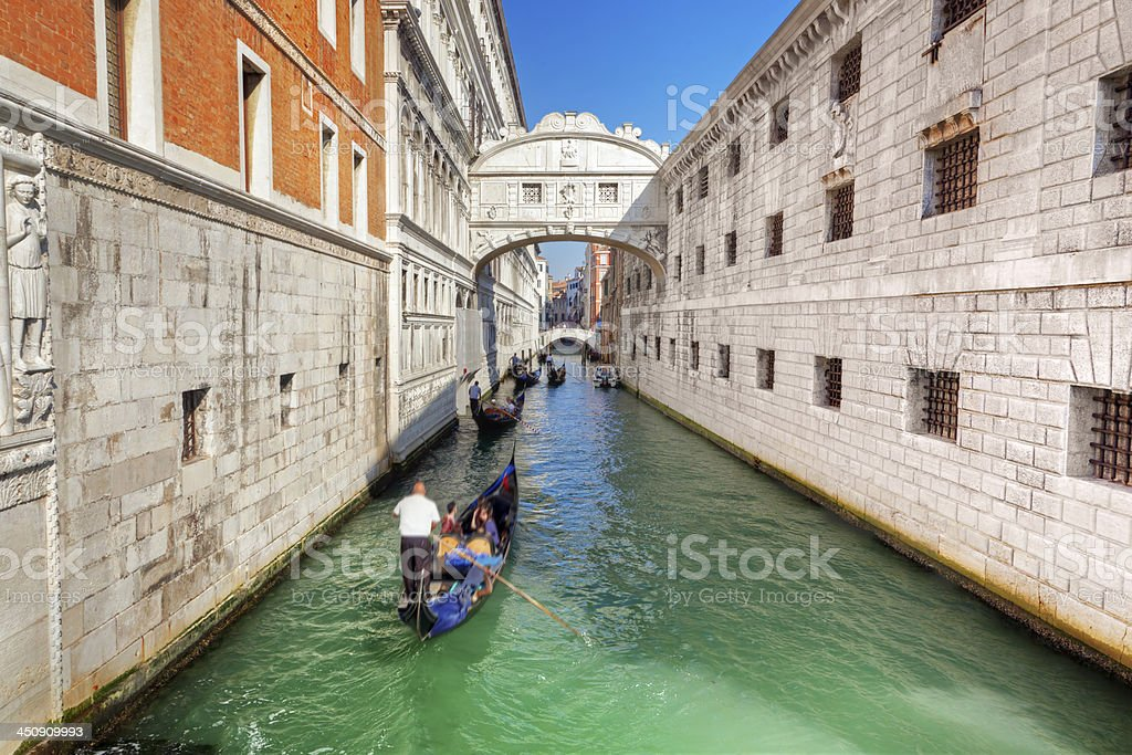 Venice, Italy. The Bridge of Sighs and gondola stock photo