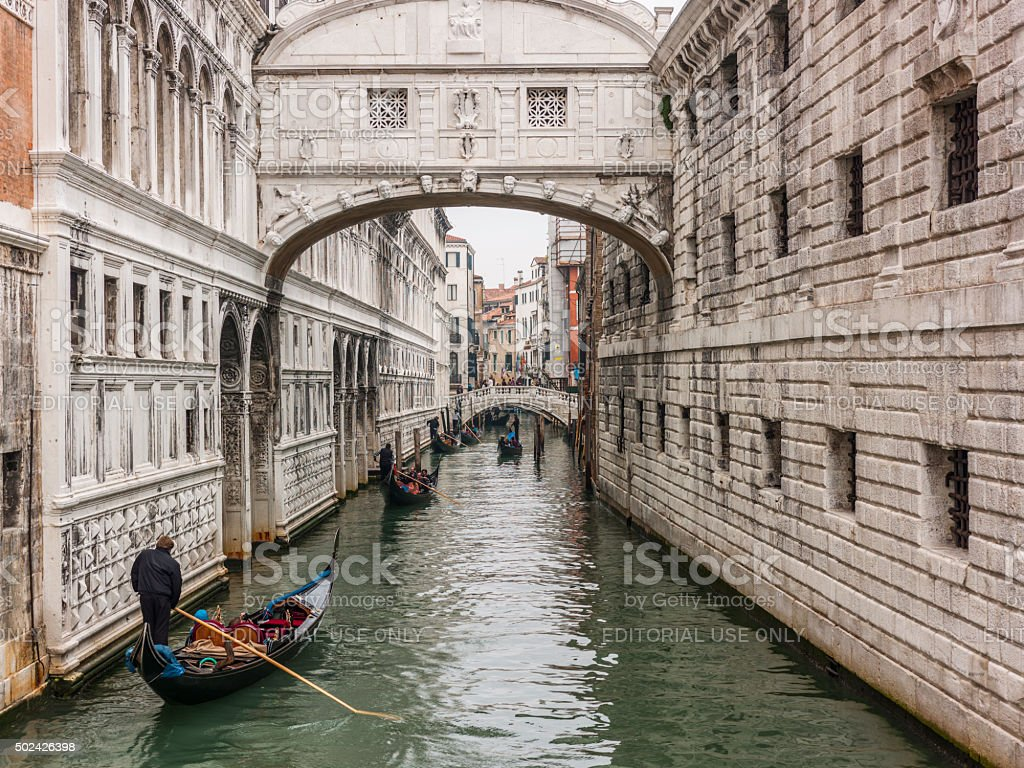 Venice, Italy. The Bridge of Sighs and gondolas with tourists stock photo