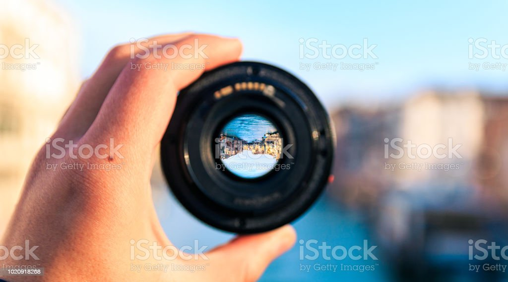 Looking to a canal through a camera lens
