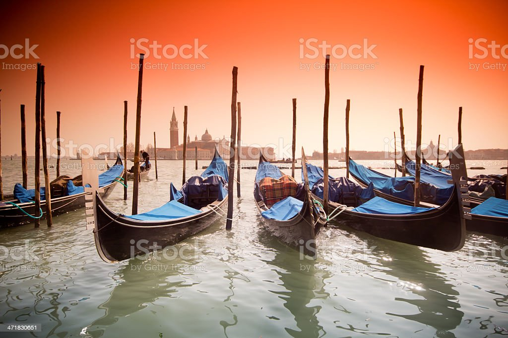 Venice, Italy with gondolas royalty-free stock photo