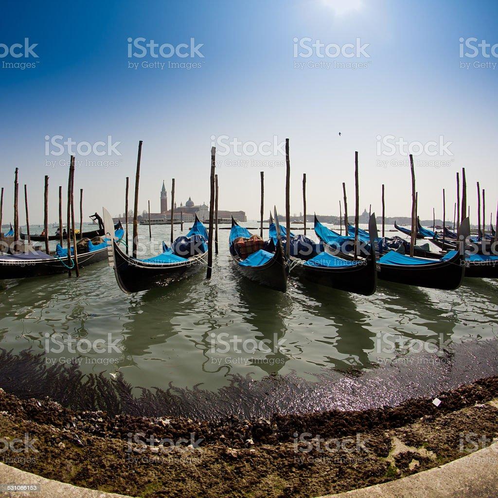 Venice, Italy with gondolas stock photo