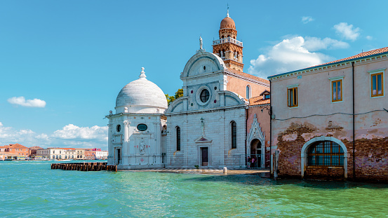 Venice Italy,San Michele church on a venetian island. Cemetery in Venice, Italy, empty street and canals of Venice