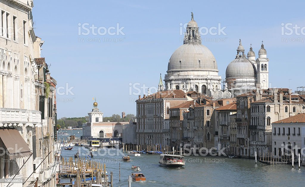 Venice: La Salute church along Canal Grande stock photo