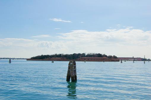 Venice lagoon looking at San Servolo in distance