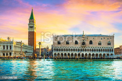 Venice landmark at dawn, view from sea of Piazza San Marco or st Mark square, Campanile and Ducale or Doge Palace. Italy, Europe.