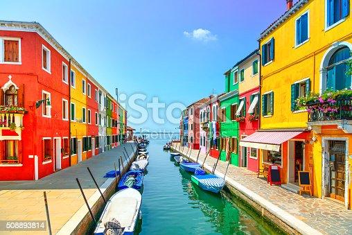 istock Venice landmark, Burano island canal, colorful houses and boats, 508893814