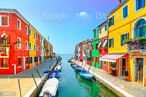 Venice Landmark Burano Island Canal Colorful Houses And Boats Stock Photo - Download Image Now