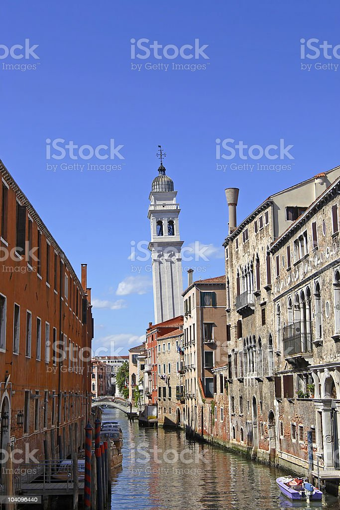 Venice - Leaning belltower in Lido royalty-free stock photo