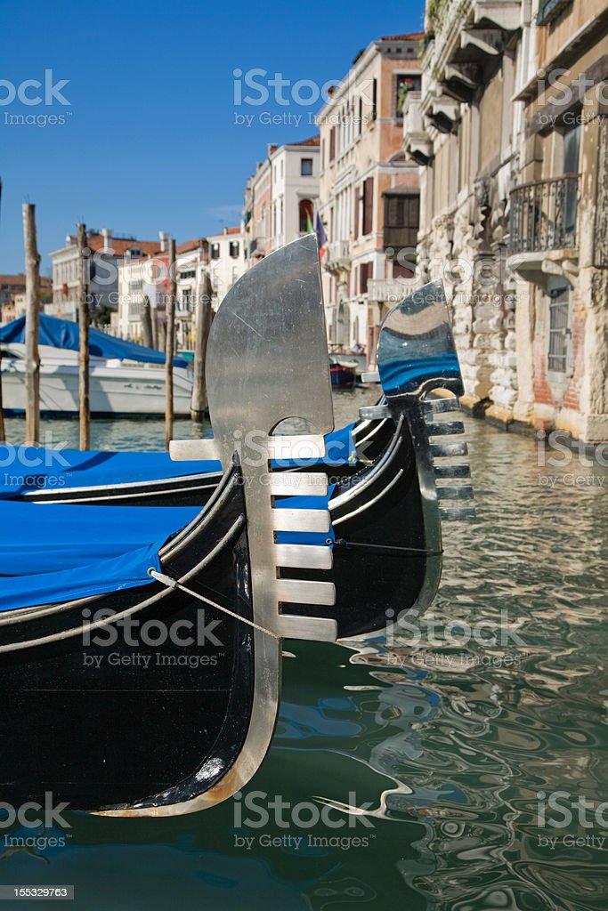 Venice moored gondolas royalty-free stock photo