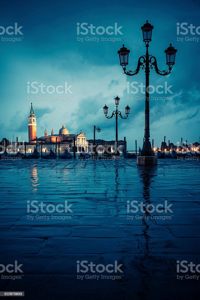 Venice on rainy day stock photo