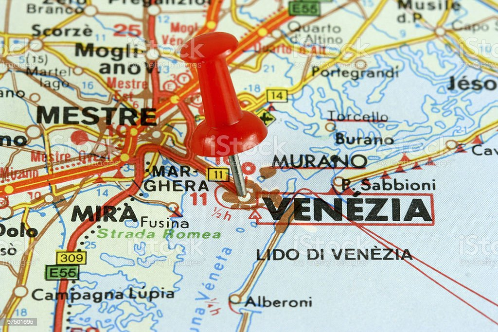 Venice on the map royalty-free stock photo